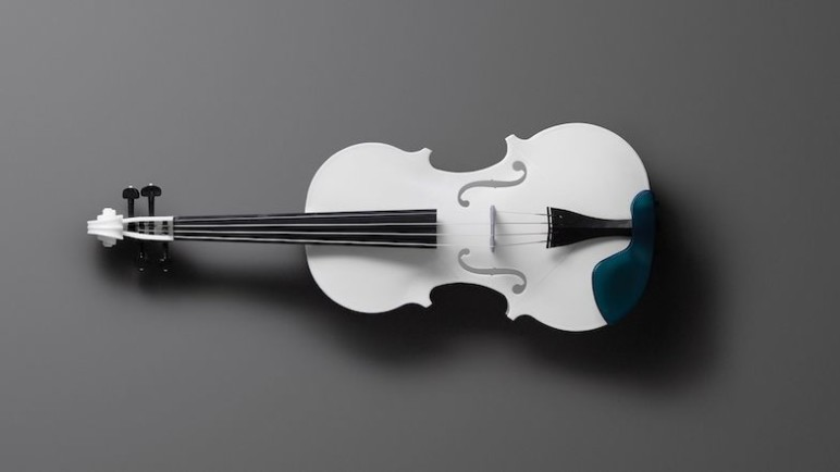 This acoustic violin was created to celebrate the launching of Formlabs' newly formulated white resin.