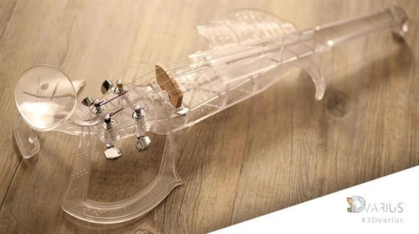 Except for the strings, bridge and pickup, the entire body and neck of this violin is printed in a single piece with an SLA printer.