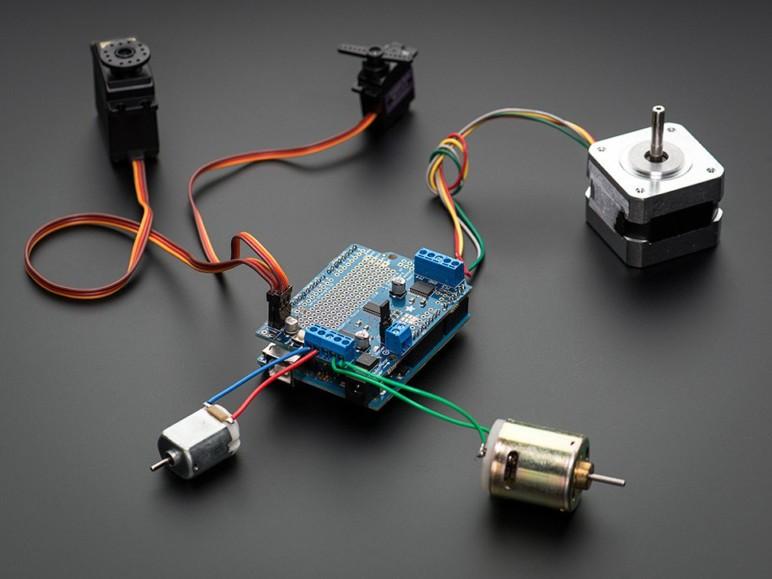 Image of Best Arduino Stepper Motors: Adafruit Motor/Stepper/Servo Shield for Arduino v2 Kit-v2.3