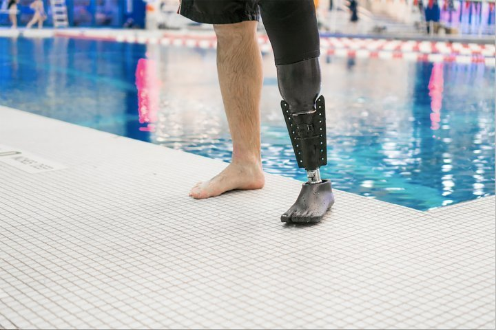 3D printed amphibious fin for a leg prosthetic