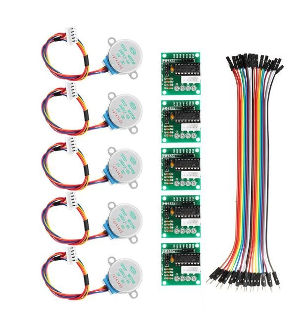 Image of Best Arduino Stepper Motors: Geekcreit 5Pcs 5V Stepper Motor with ULN2003 Driver Board Dupont Cable for Arduino