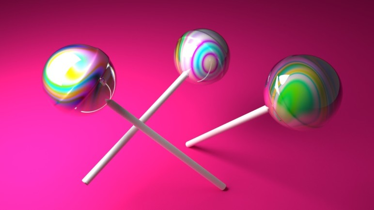 Lollipops created in a .blend file.