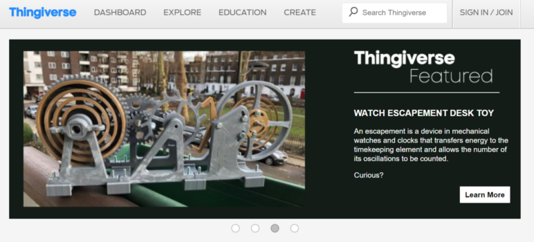 Thingiverse is one of the biggest 3D printing platforms for users to share their creations.