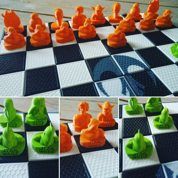 A 3D printed chess set where Yoda is king.