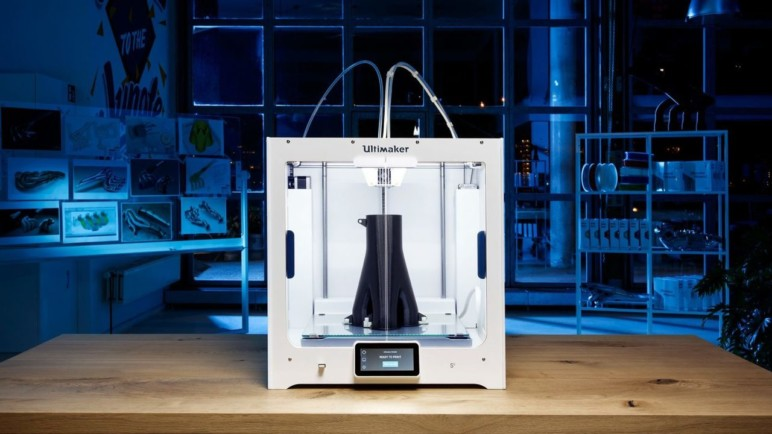 An Ultimaker S5, reknowned for its quality dual extrusion capabilities.