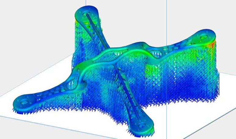 Prediction of support and part distortion in Materialise Magics.