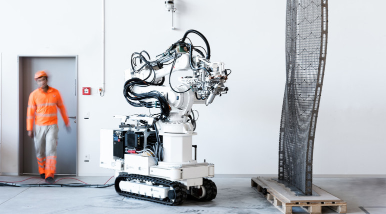 A large robot building a house.
