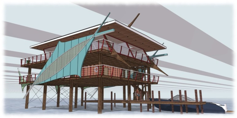 Concept for a Stiltsville House in Biscayne Bay.
