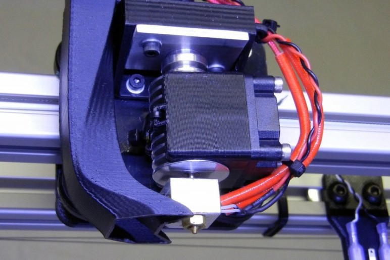 Print fan for cooling extruded material.