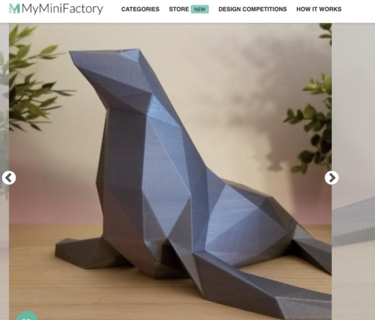 Low-poly 3D printed seal.
