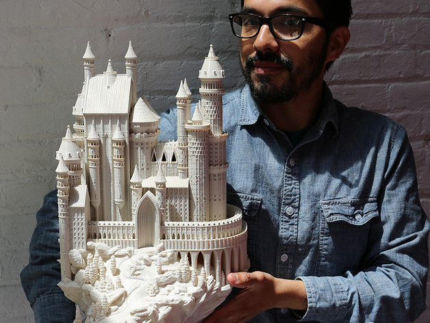 3D printied medieval castle based on Schloss Lichtenstein and Neuschwanstein.
