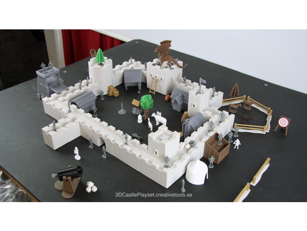 A 3D printed castle playset that is a bustling place.