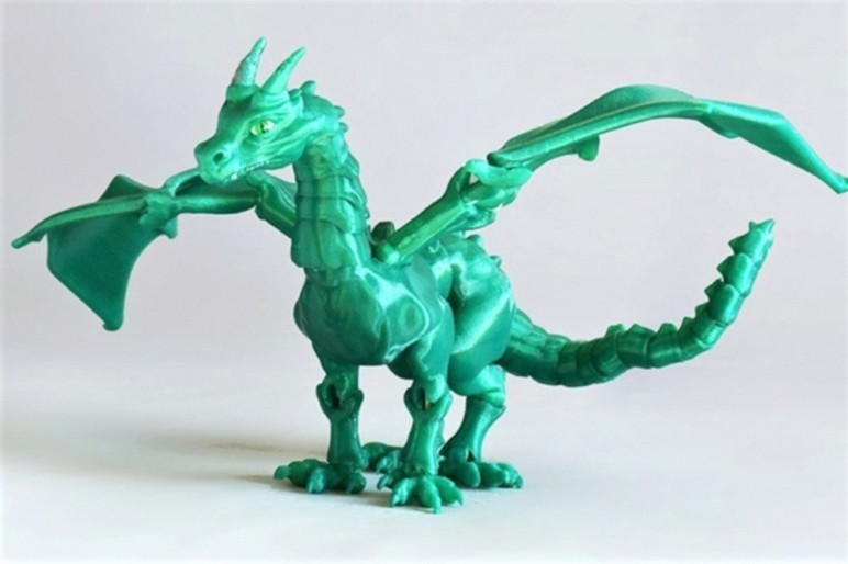 A jointed, 3D printed dragon.
