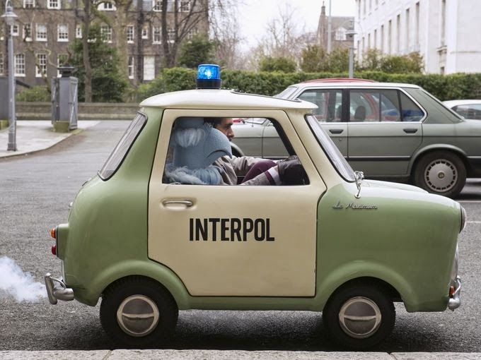 Interpol vehicle seen in action on the set.