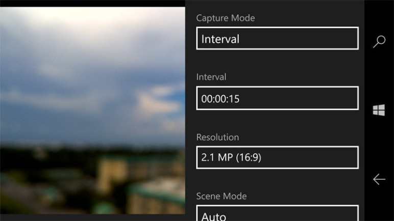 Screenshot of a Windows interface showing time-lapse options.