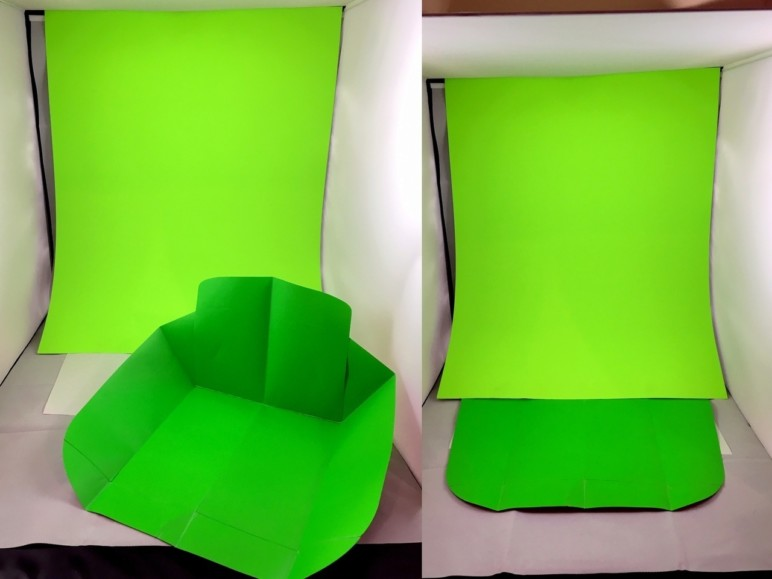 Example of a homemade green screen background.