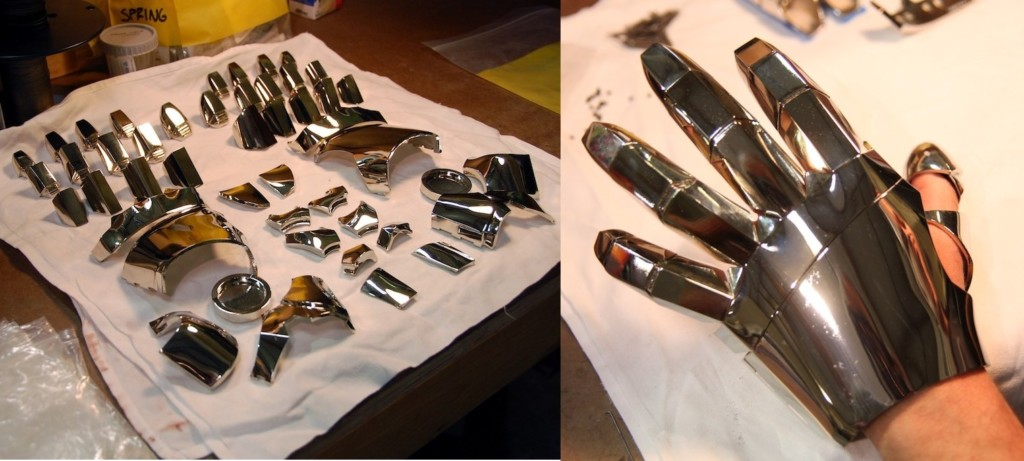The gauntlet before and after assembly.