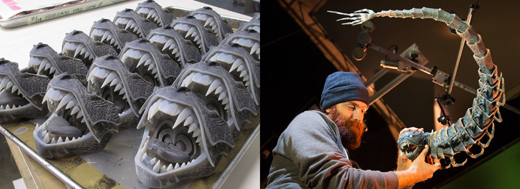 Left: The many mouths of the Moon Beast. Right: A crew member manipulating the Moon Beast for the next frame.