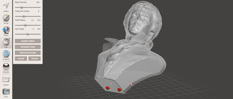 Hollowing a 3D model.