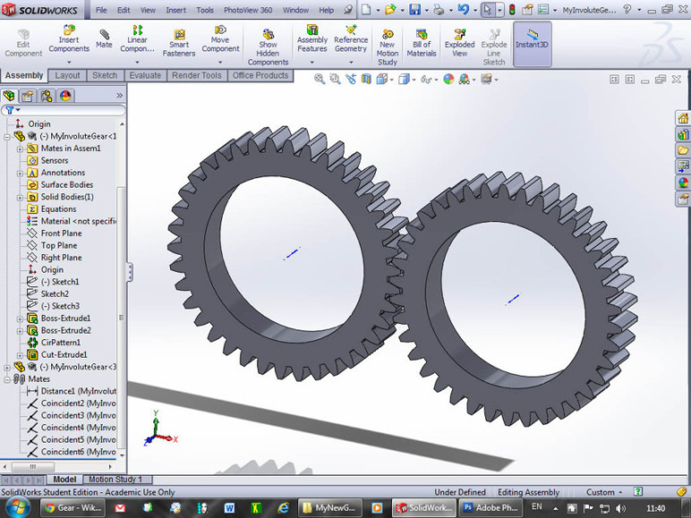 Designing gears in SolidWorks.