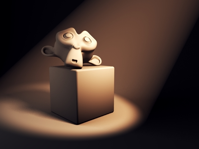 Picture of a cube and monkey object being illuminated in Blender.