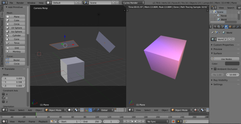 Screenshot of some planes lighting a cube in Blender.
