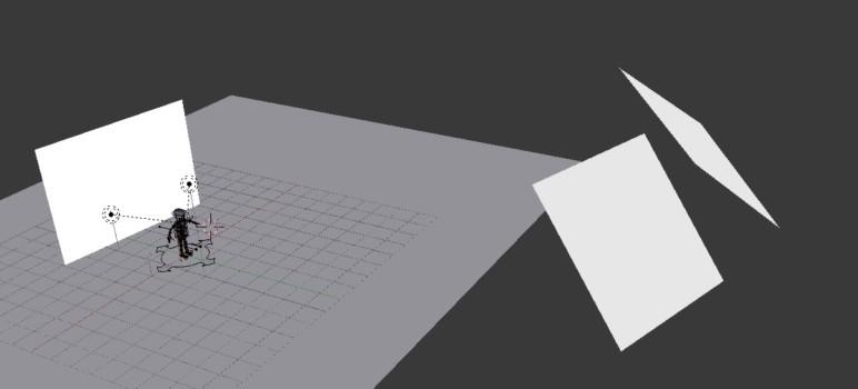 Blender scene showing some light emitting planes in Blender.
