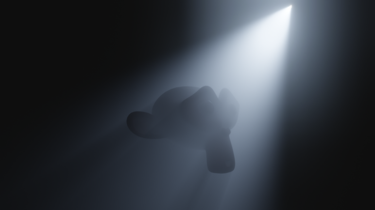 A render with volumetric lighting shining on a floating object.