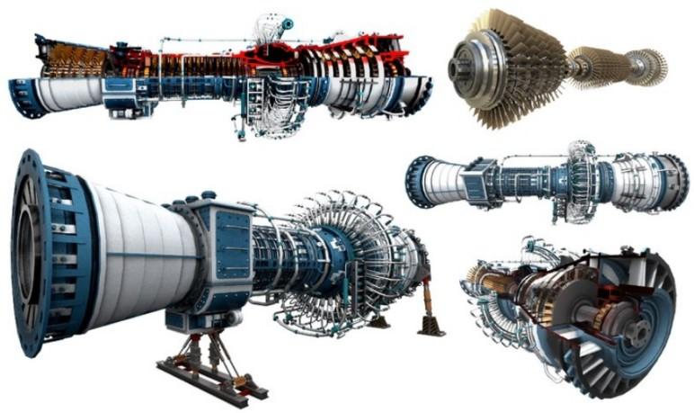 A gas turbine model generated in Rhino3D.
