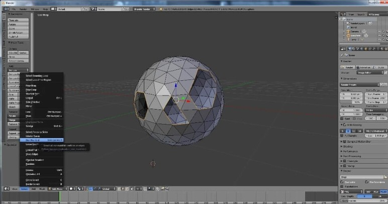 An illustration of a non-manifold mesh in Blender.