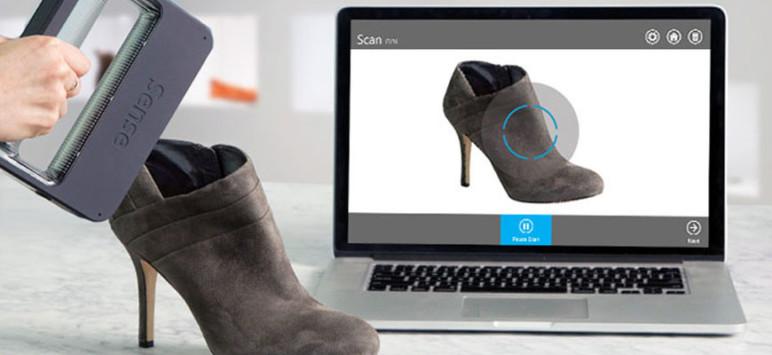 Sense 3D scanner taking a 3D scan of a shoe.