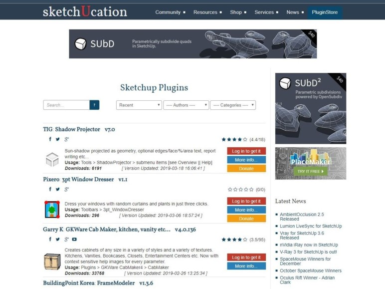Browsing the Sketchucation plugin store.