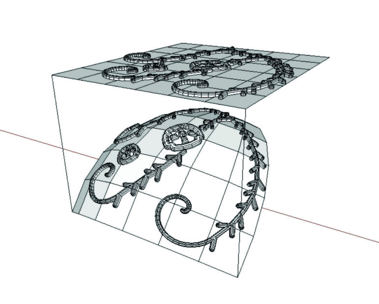 Using Flowify to project a complex shape onto a curved surface.