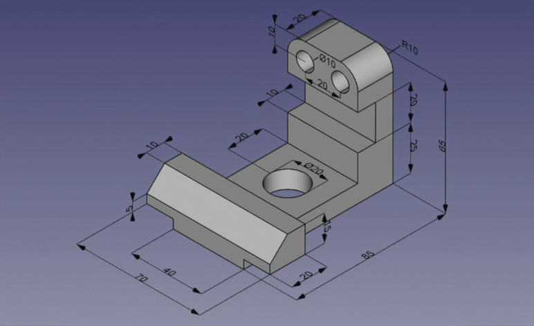 A part designed in FreeCAD