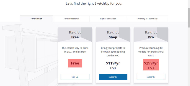 SketchUp products and pricing as of March 2019.