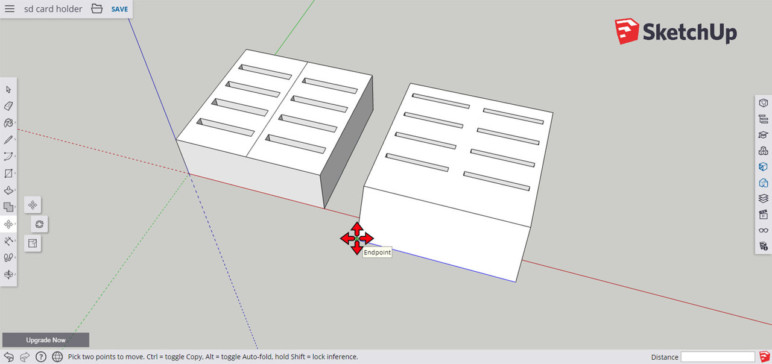 Screenshot of SketchUp during a modeling process