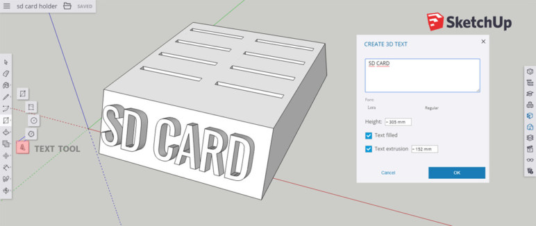 Screenshot of Sketch showing how to add text.