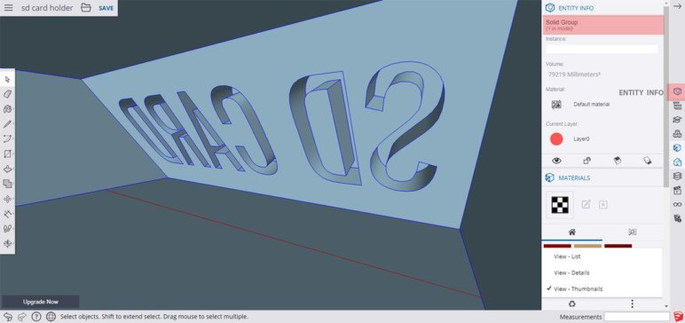 Screenshot of SketchUp showing entity info inside a hollow object.