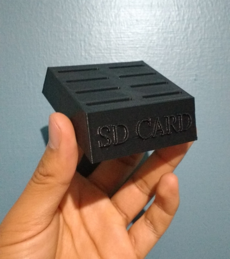 Finshed 3D printed SD Card Holder designed in SketchUp.