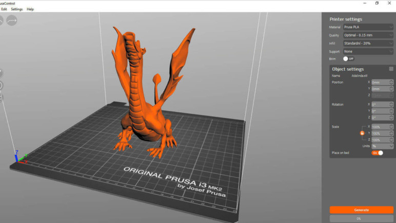 Model of a dragon showing the slicer parameter settings