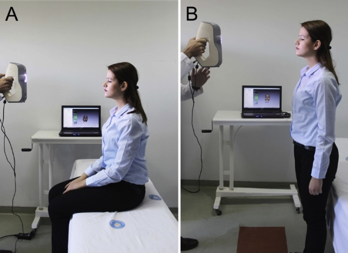 A woman being scanned using a scanner in two different ways.