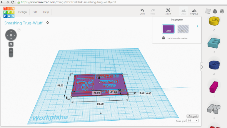 Creating a business card in TinkerCAD.