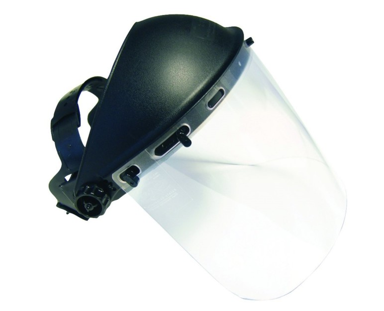 A full-face safety shield.