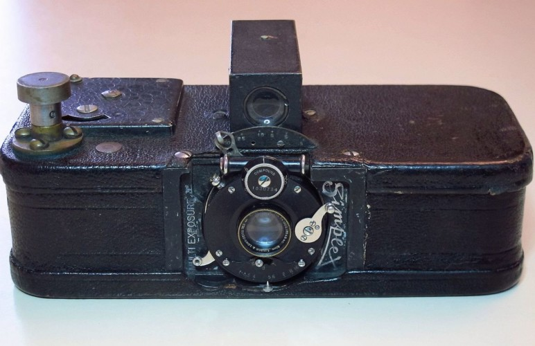 An early film camera.
