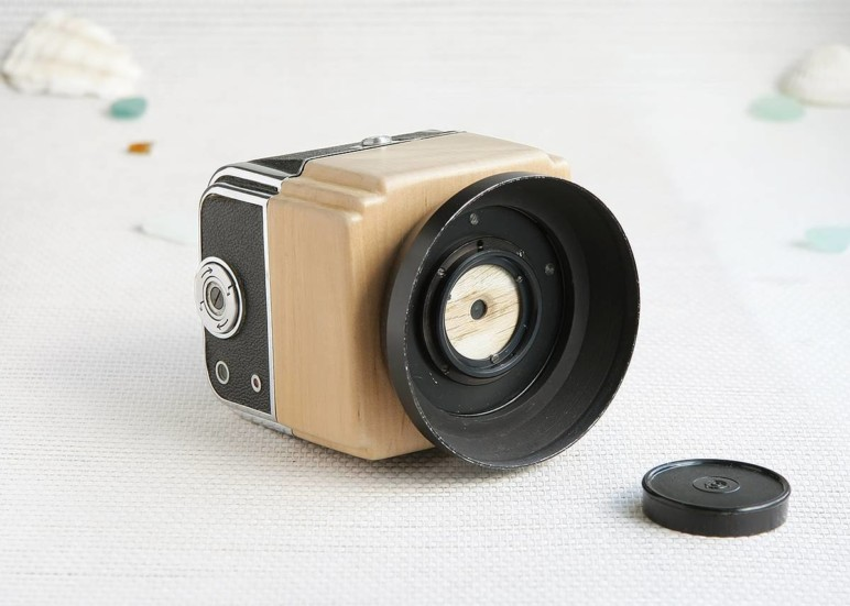 A pinhole camera made from driftwood.