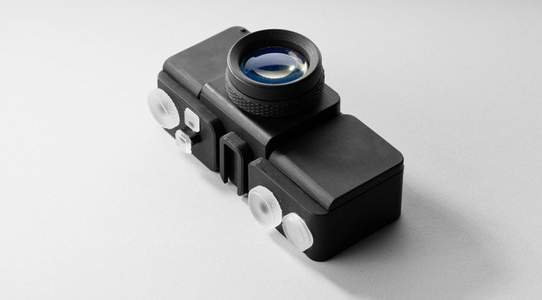 A camera printed with a Formlabs SLA machine.