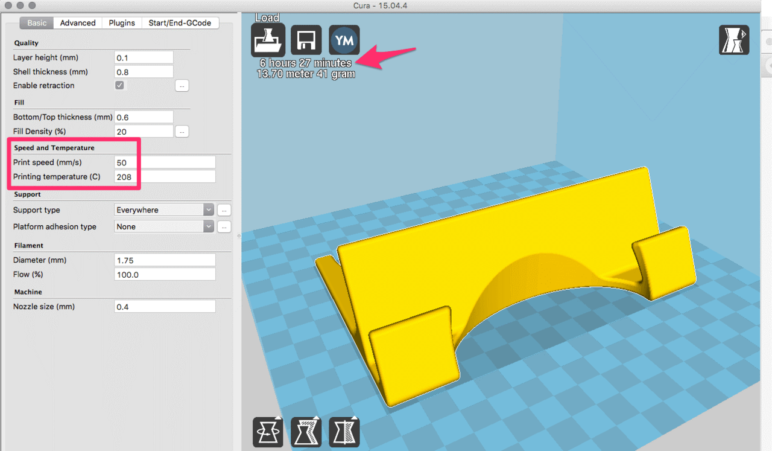 The print speed field in Cura Version 15.04.