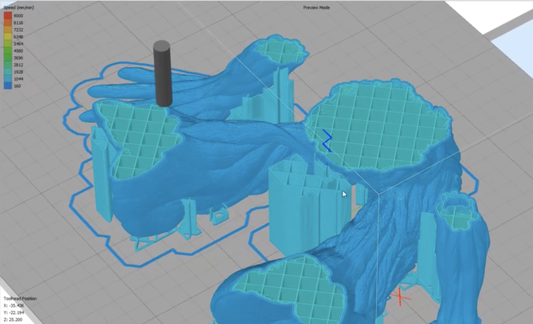 Simplify3D's toolpath for a Groot model.