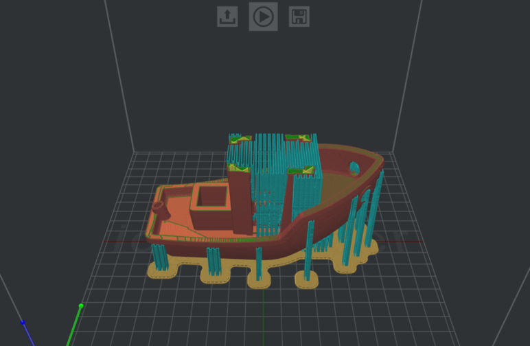 A Benchy seen in ideaMaker's layer viewing mode.