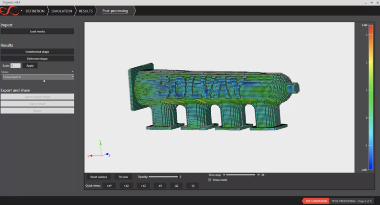 The user interface of a professional 3D print simulation software.
